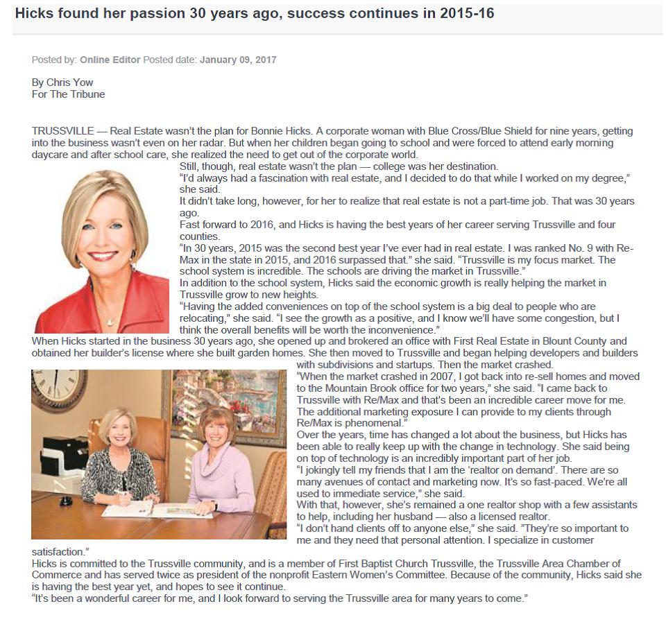 Bonnie Hicks Interview - Trussville Tribune