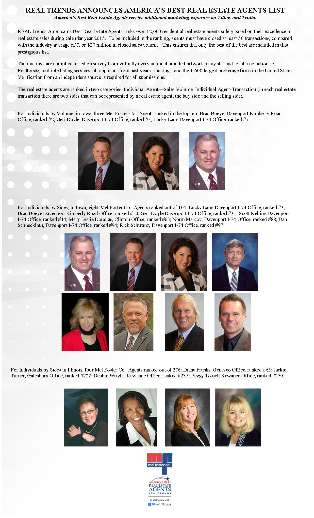 Image of Real Trends top agents from Mel Foster Co for 2015