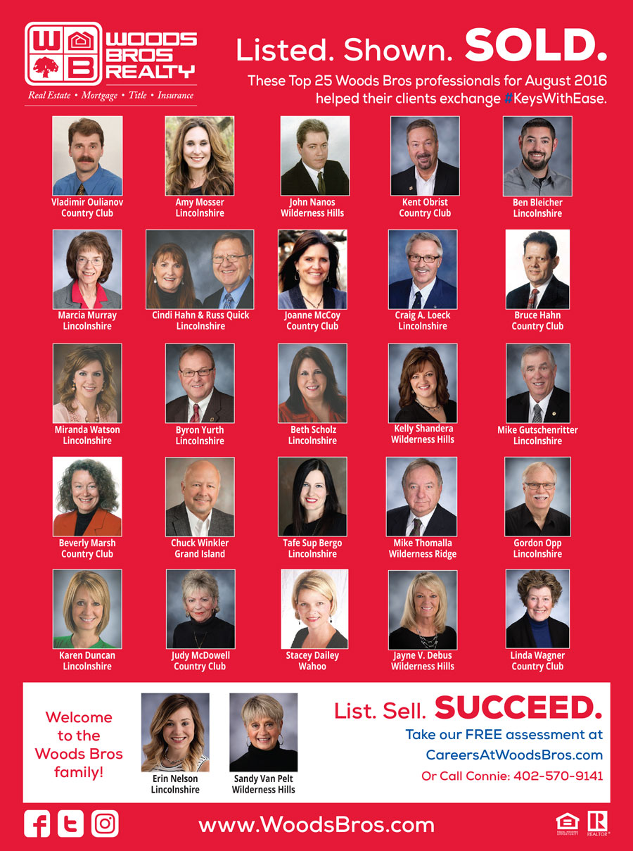Woods Bros Realty Top Agents August 2016