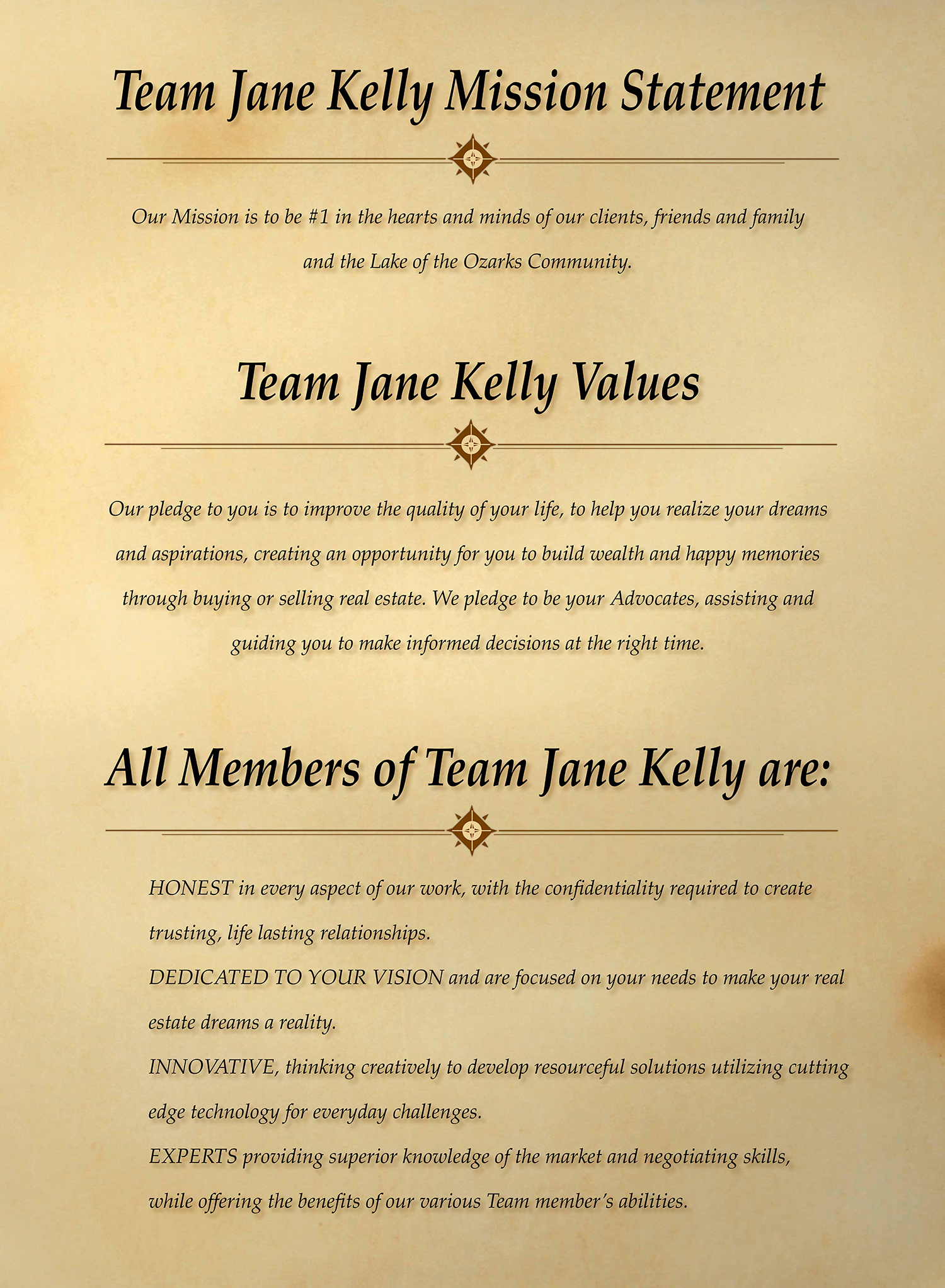 Team Jane Kelly Mission Statement