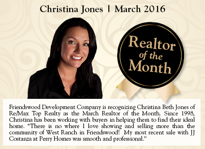 Realtor of The Month for West Ranch