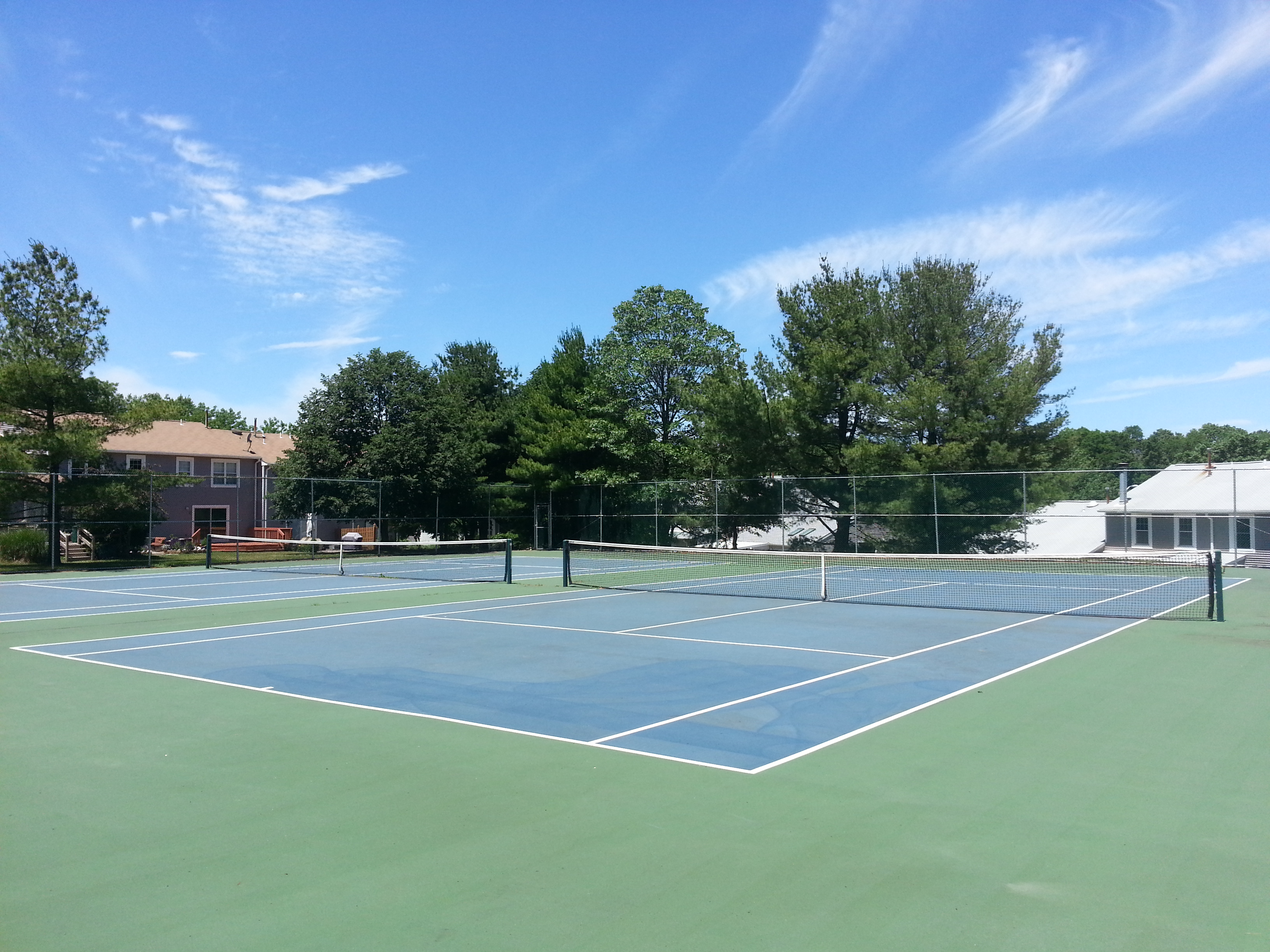 Tinton Woods in Eatontown has two beautifully cared for tennis courts for residents to use.