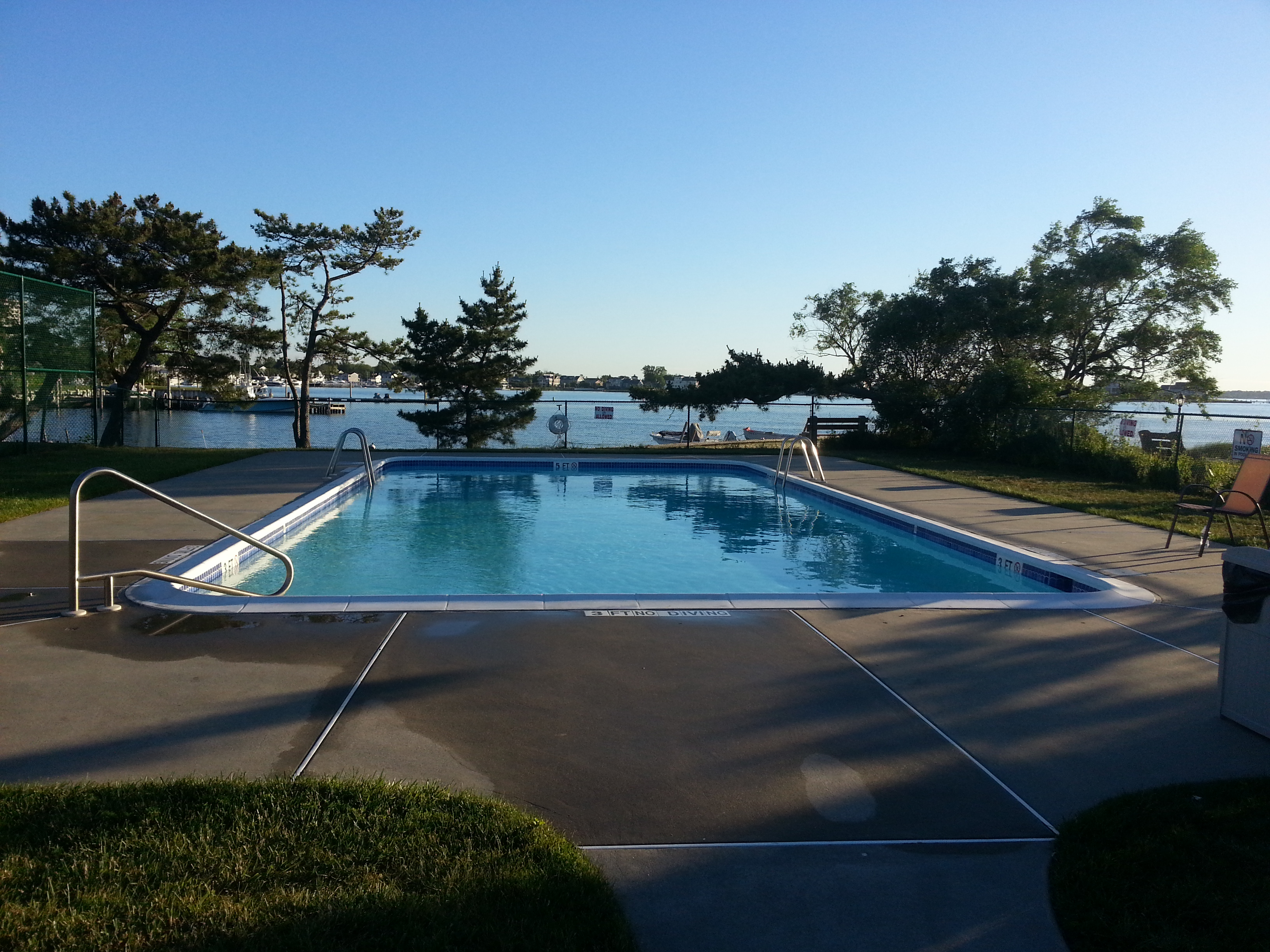 The Breakwater Cove community pool overlooks the river, making a perfect place for summer relaxation