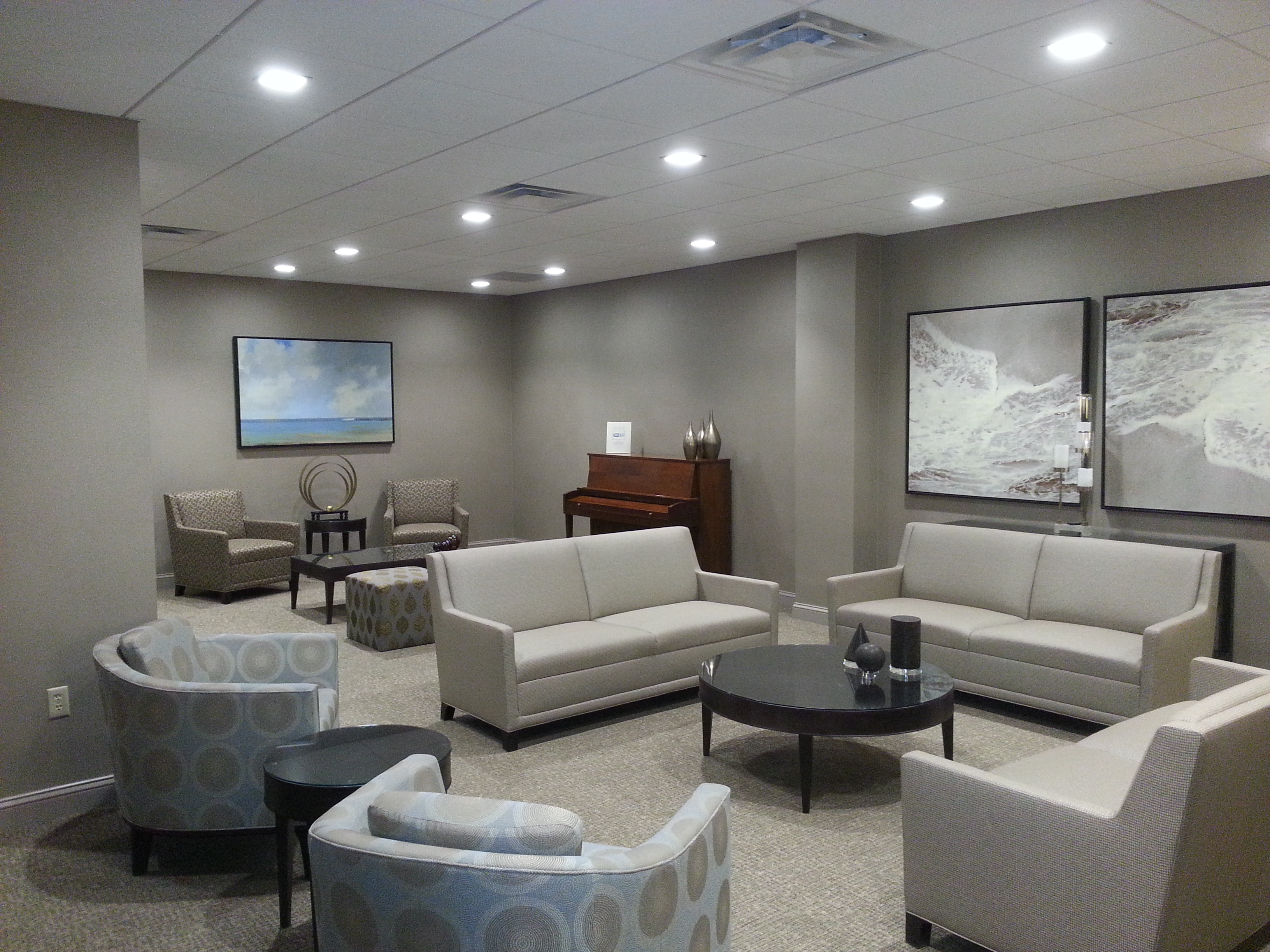 In addition to the lounge area, the social room has a pool table, card tables and a kitchen.
