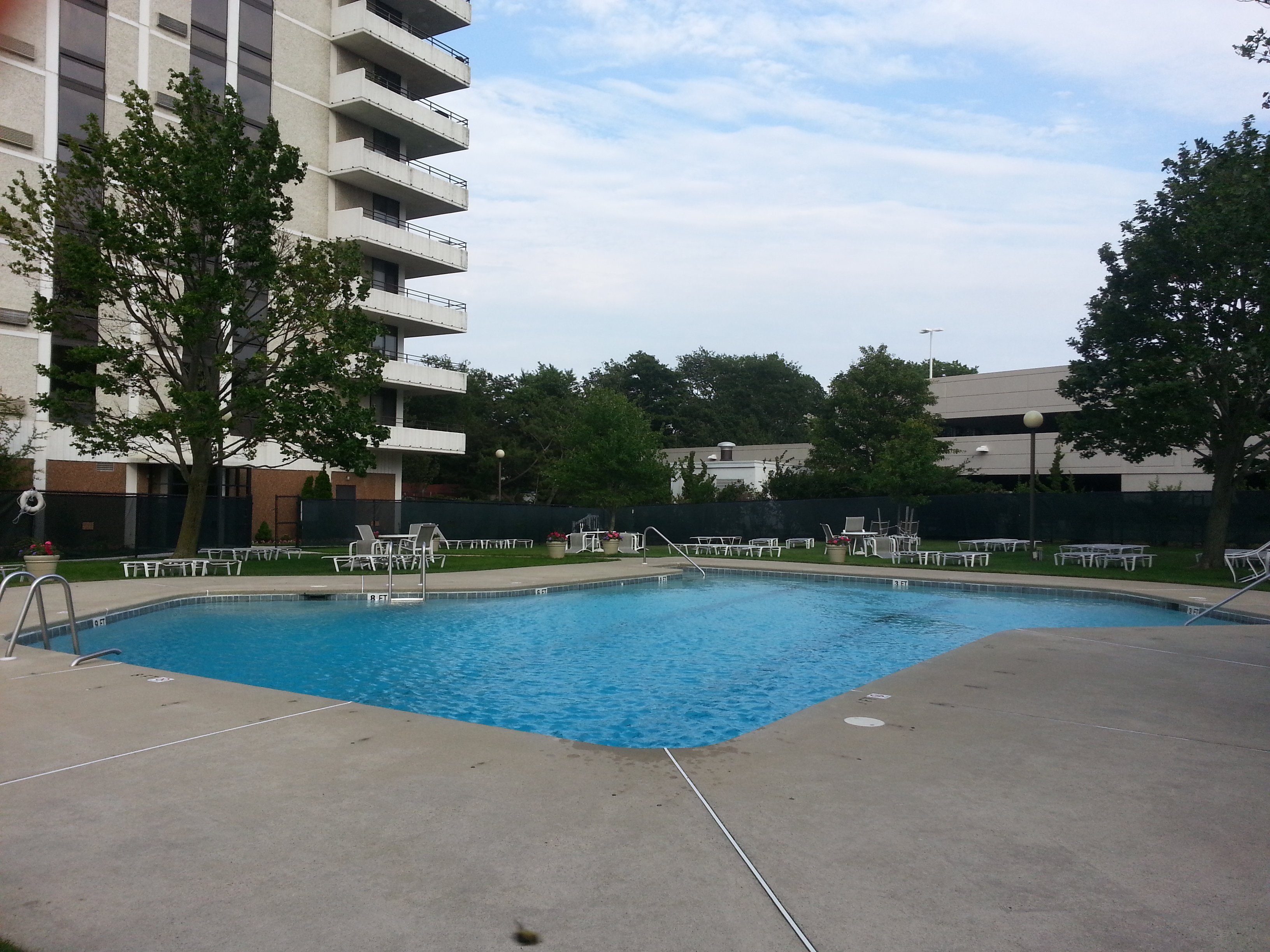 The pool is heated with plenty of chairs and is lifeguard protected during the day.