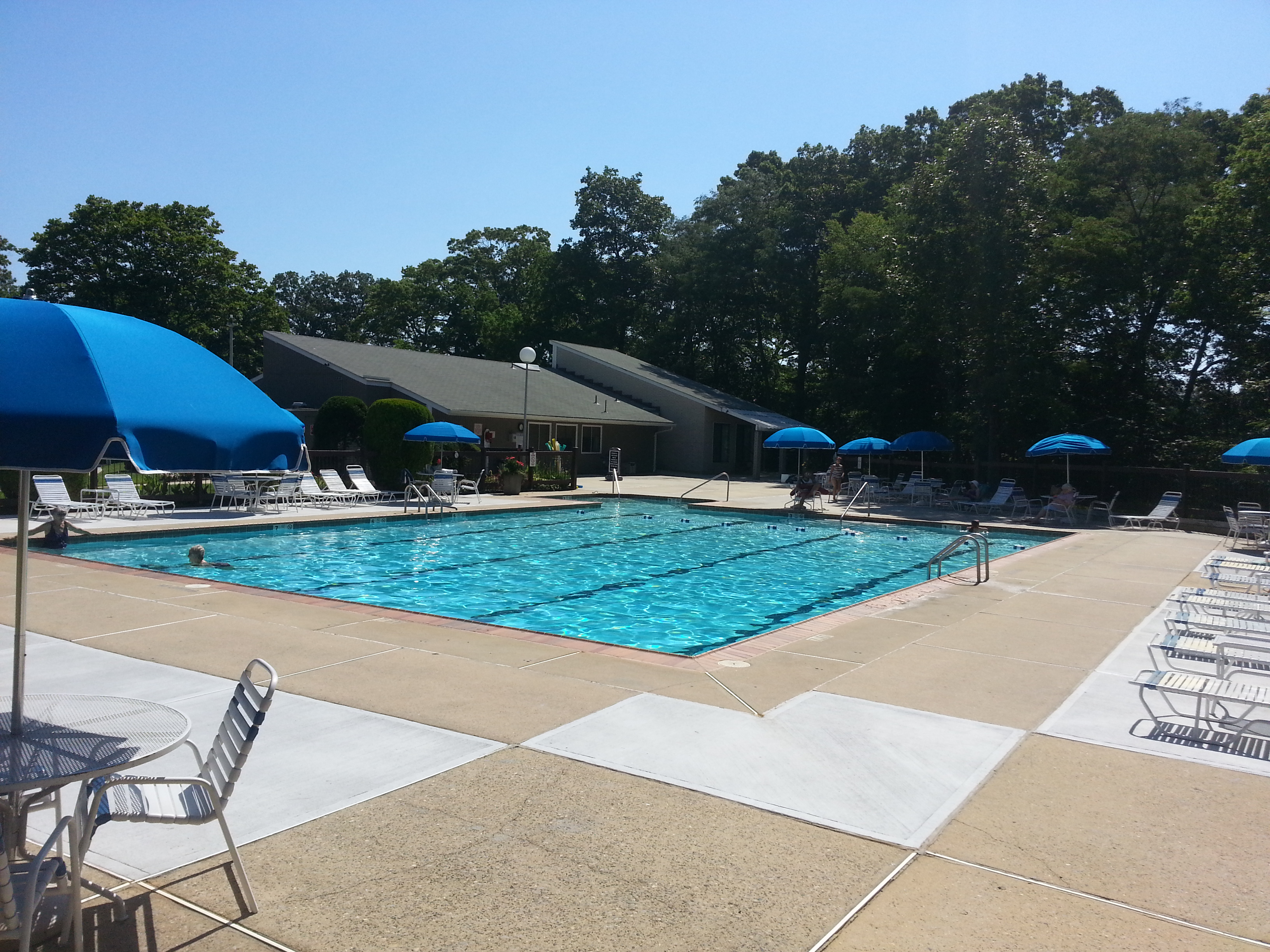 The Shadow Lake Village pool, pictured here, is located next to the clubhouse and is a popular place