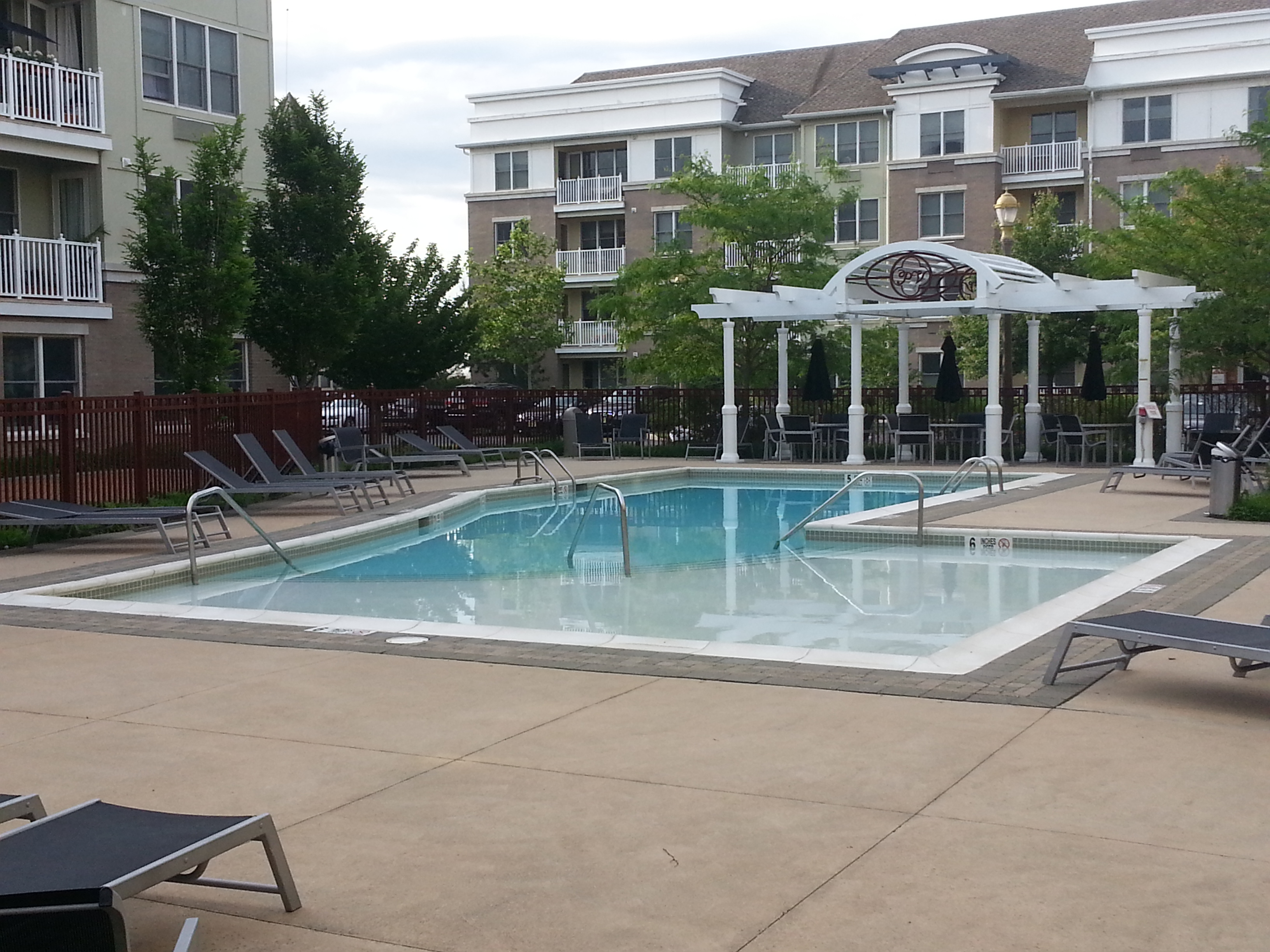 Among the amenities at 55  Melrose, is this pool which is located right outside the main entrance.