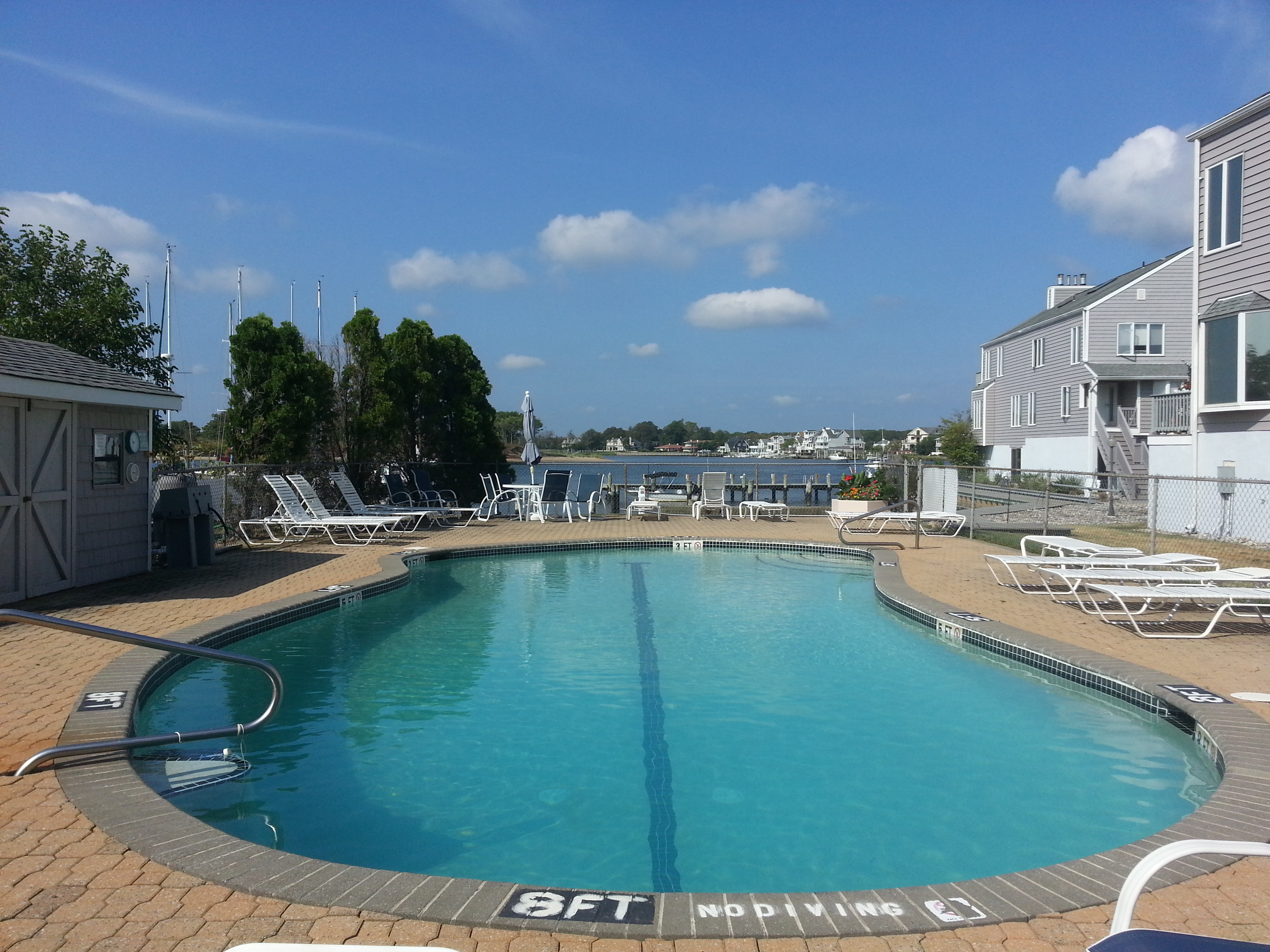 Among the Waterways amenities is this pool overlooking the Shrewsbury River.
