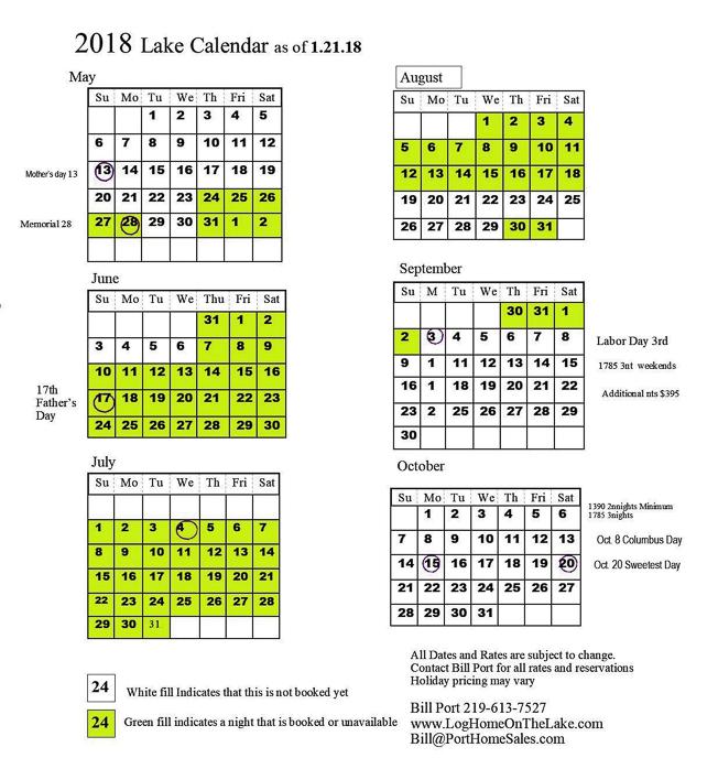2018 Log Home On The Lake Calendar 219-613-7527