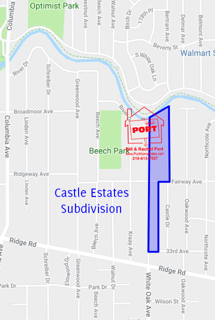 Castle Estates, Subdivision, Munster, Indiana, RE/MAX, Homes for Sale, Map, Bill Port, Real Estate