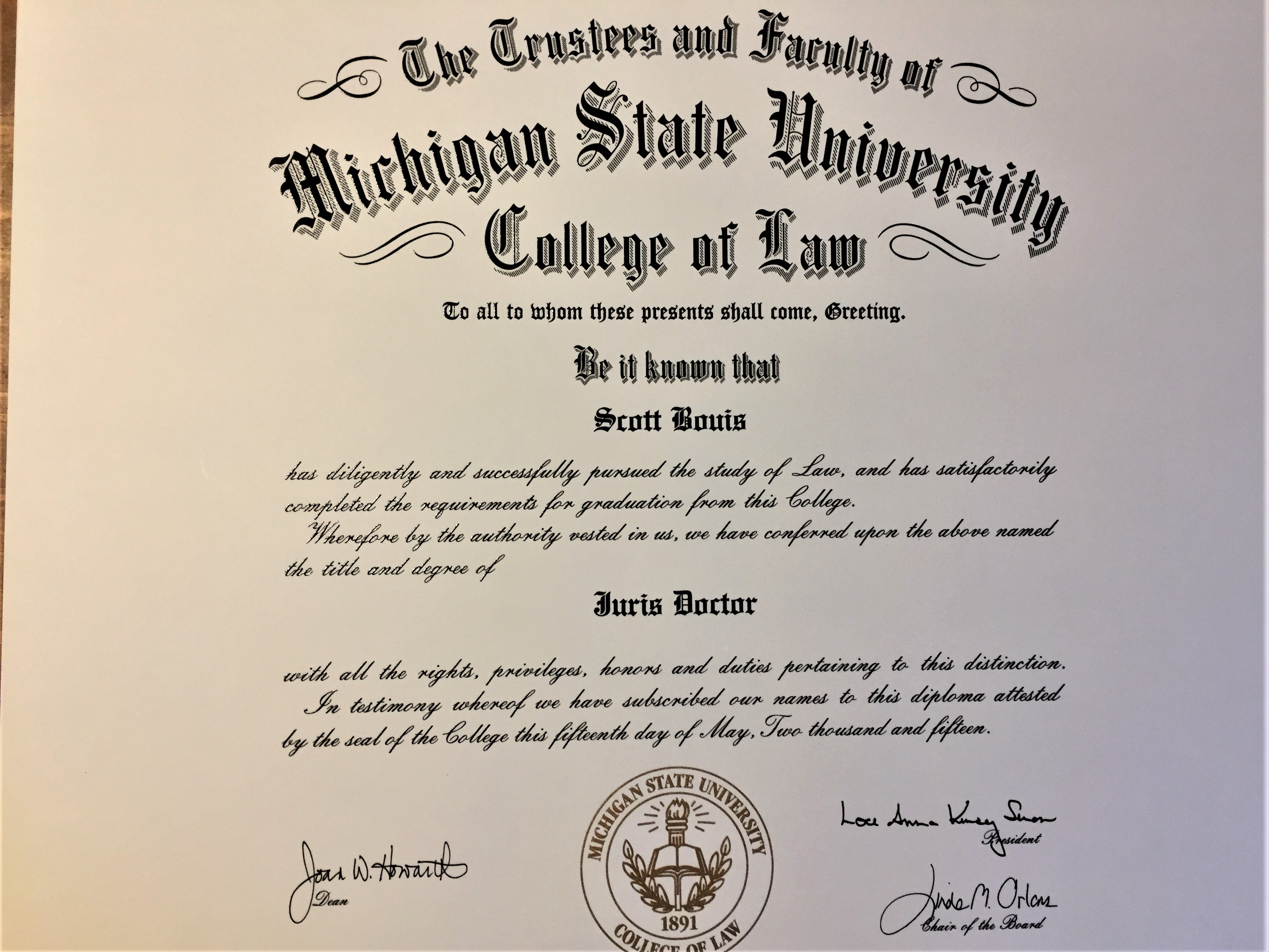 Juris Doctorate of Law