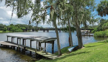 Boat dock over river with large green trees and green canoe below trees