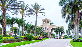 Luxury gated community entrance with large palm trees and lush foliage in Florida