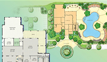 Blueprint elevation of large luxury mansion in Florida with multiple buildings and a pool