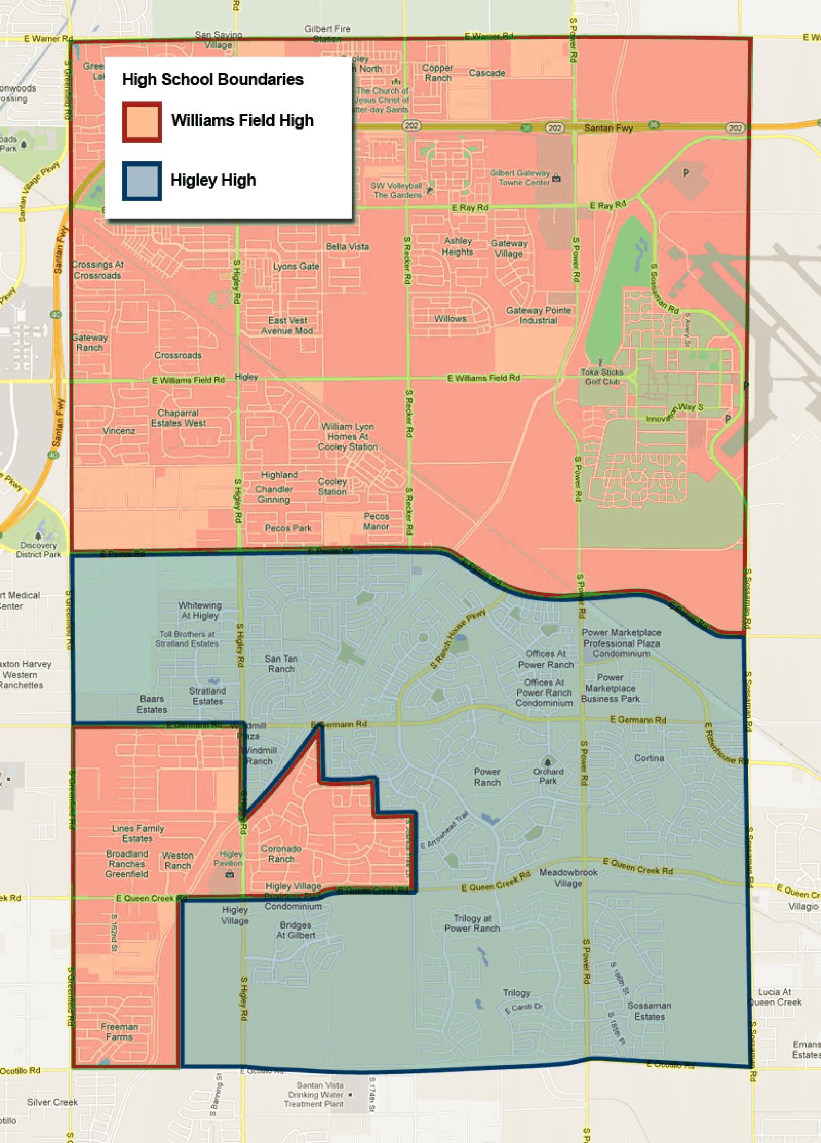 Higley USD High School Boundary Map