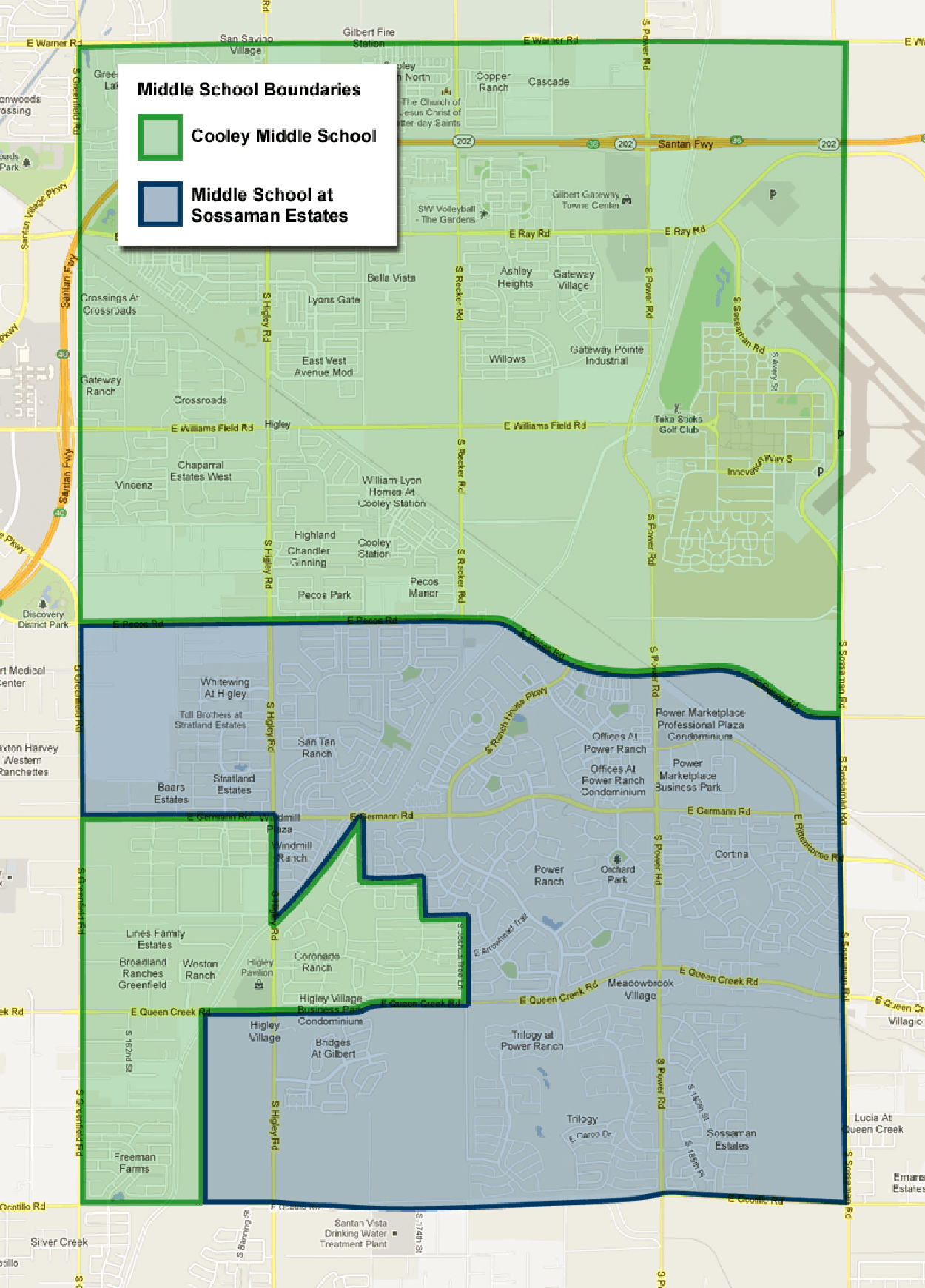 Higley Junior High School Boundary Map