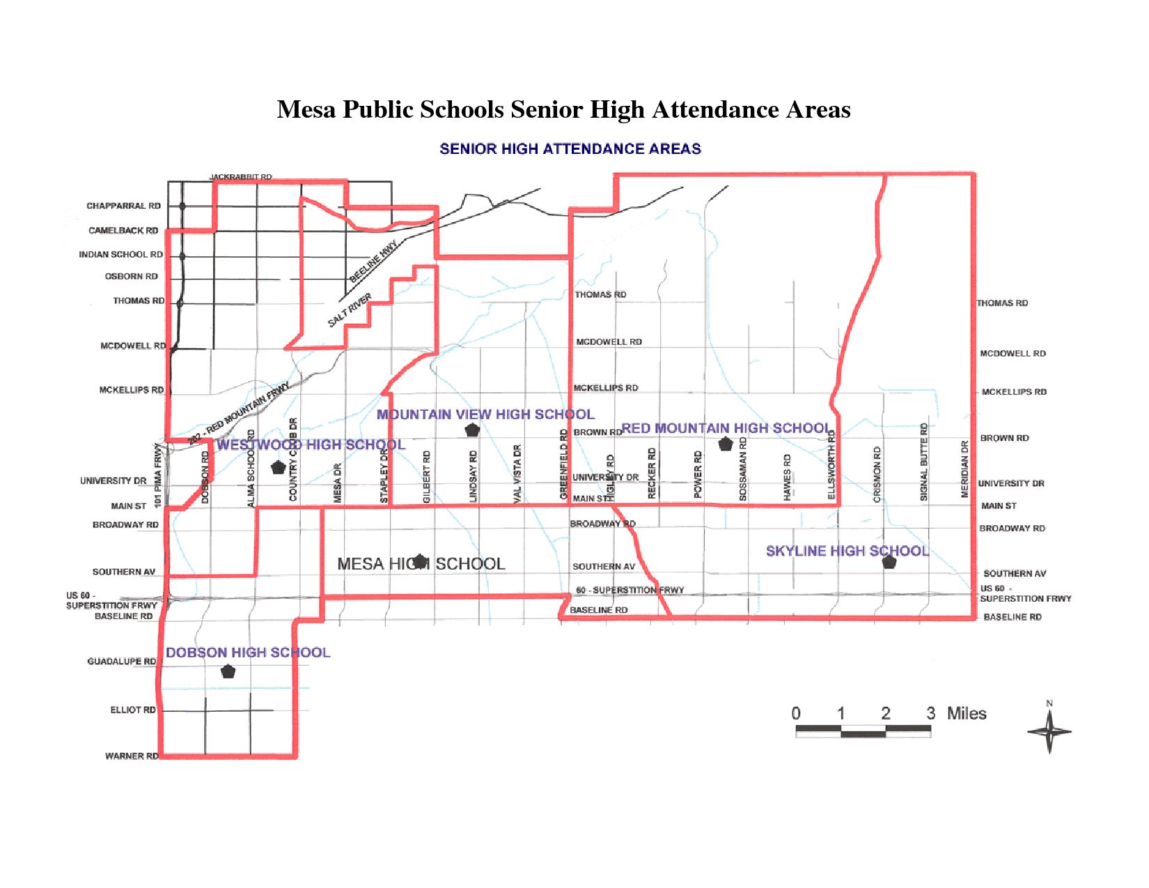Mesa AZ USD High School Expanded Boundary Map