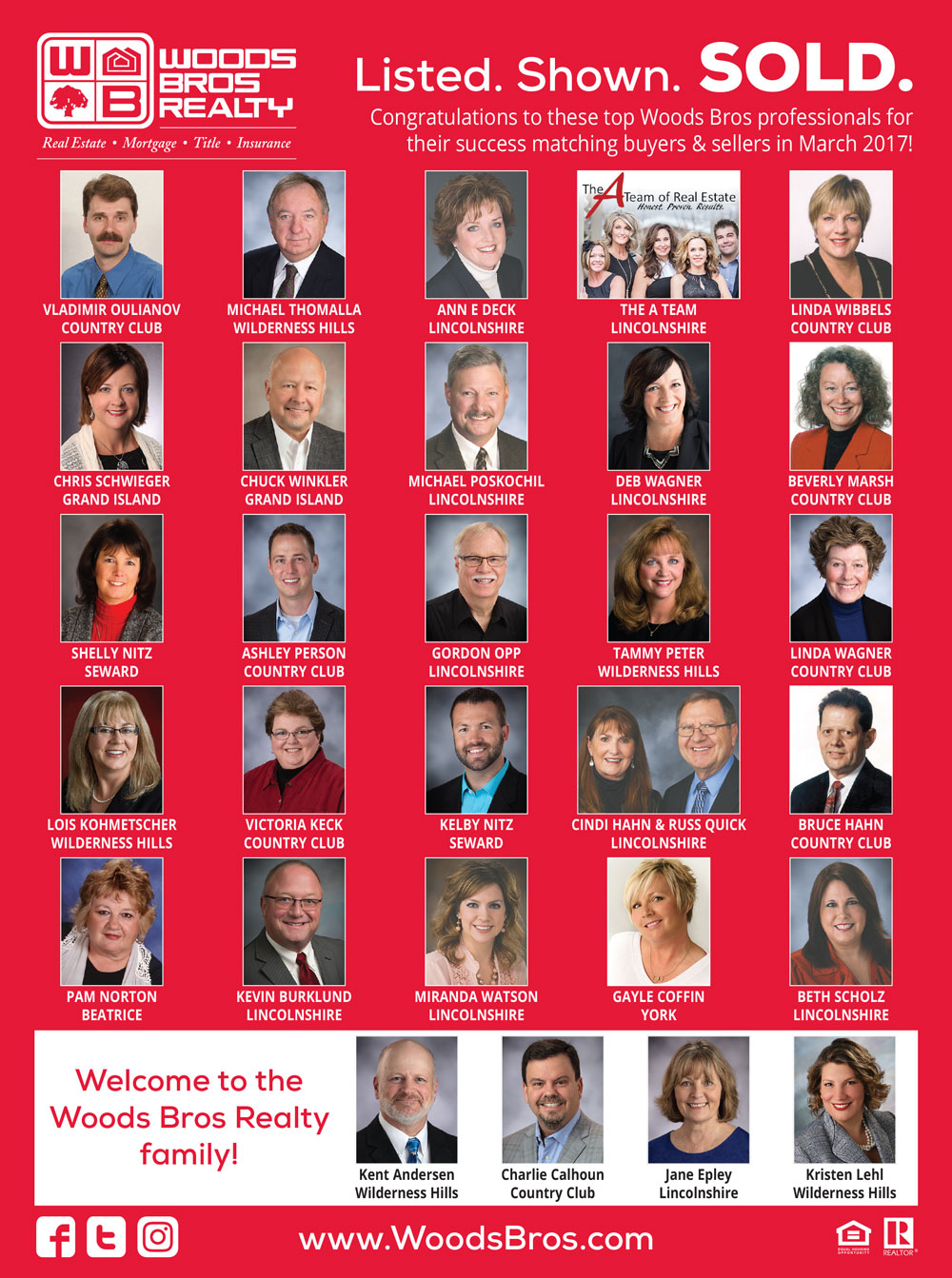 Woods Bros Realty Top Agents March 2017