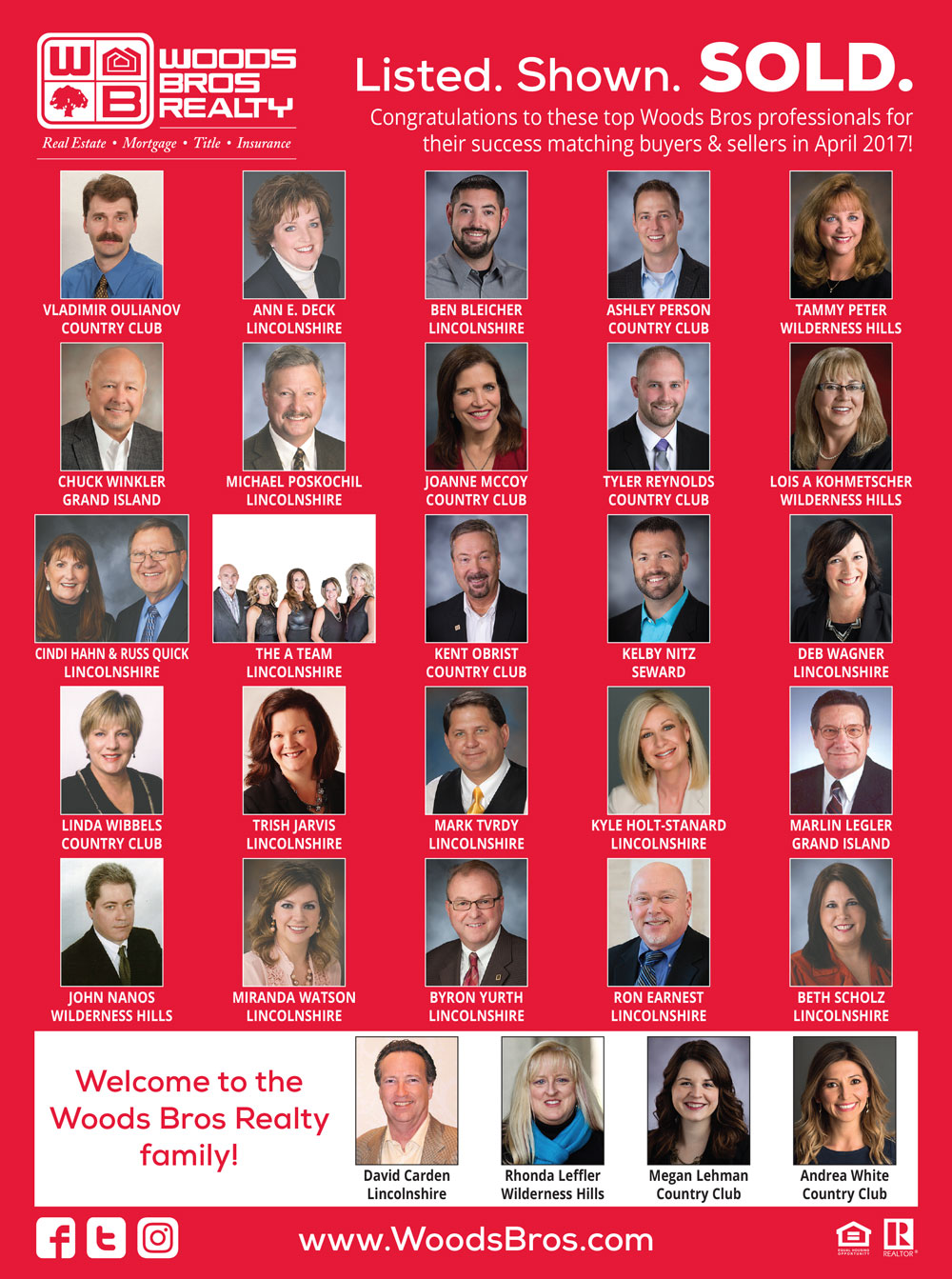 Woods Bros Realty Top Agents April 2017