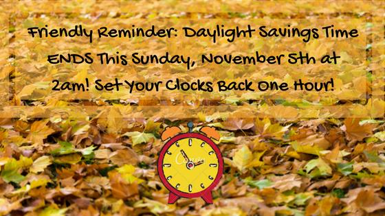 Daylight Savings Time Ends Fall 2017