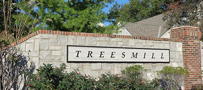 Treesmill entrance sign in Overland Park, KS