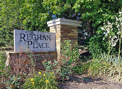 One of the entrance monuments at Reghan Place in Shawnee, KS