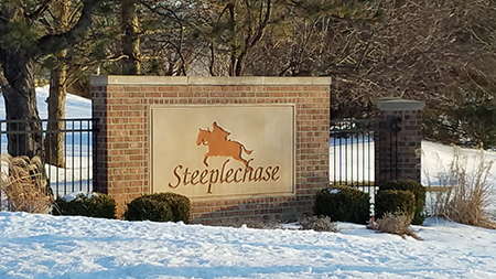 The monument sign at Steeplechase in Leawood, KS