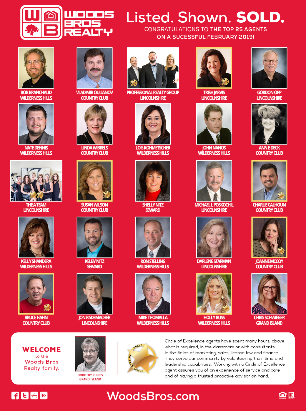 Woods Bros Realty Top Agents Feb 2019
