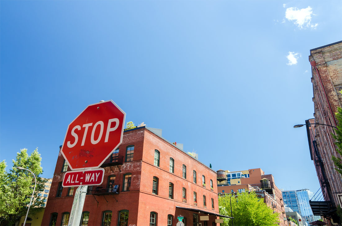 Stop sign in downtown area