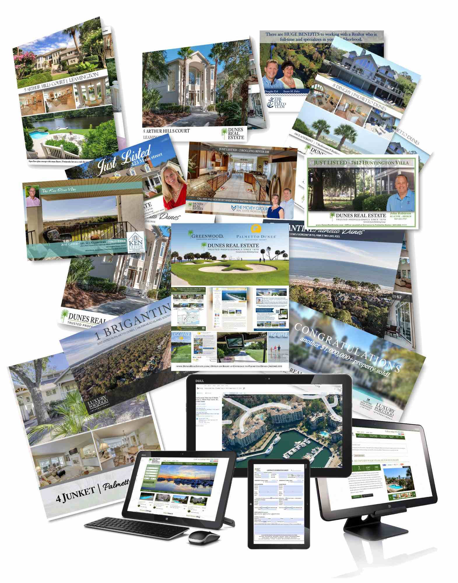 marketing material collage