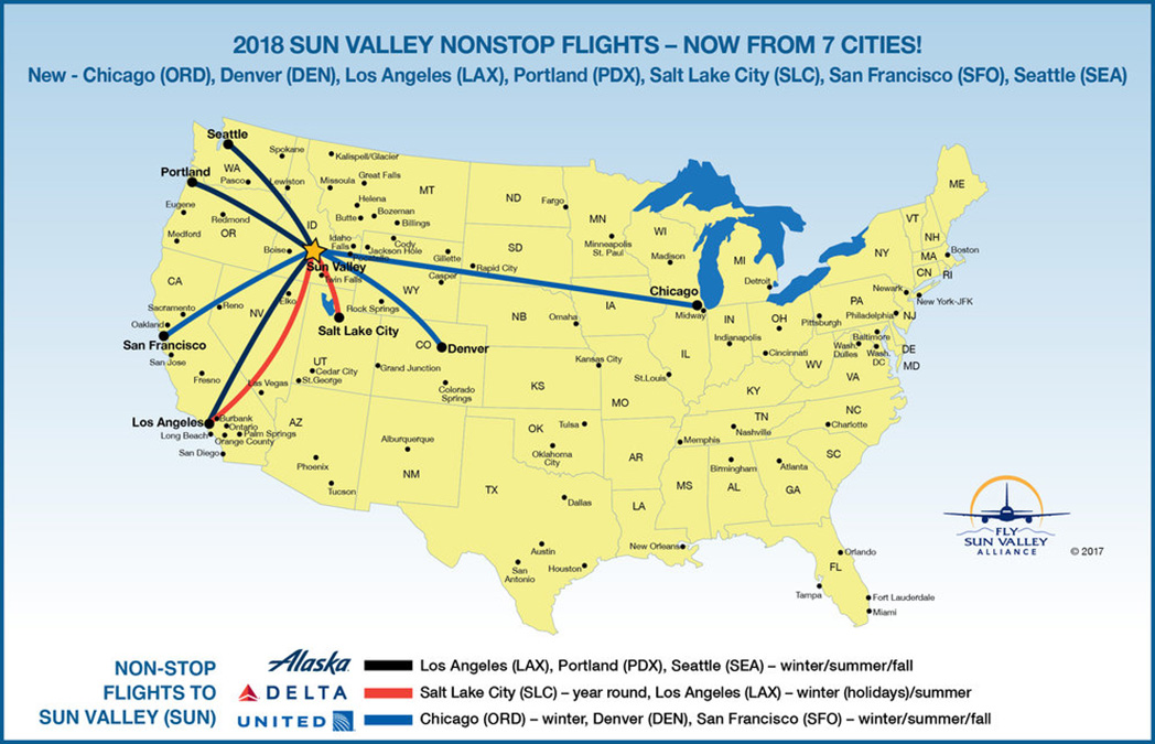 Commercial airline routes to Sun Valley