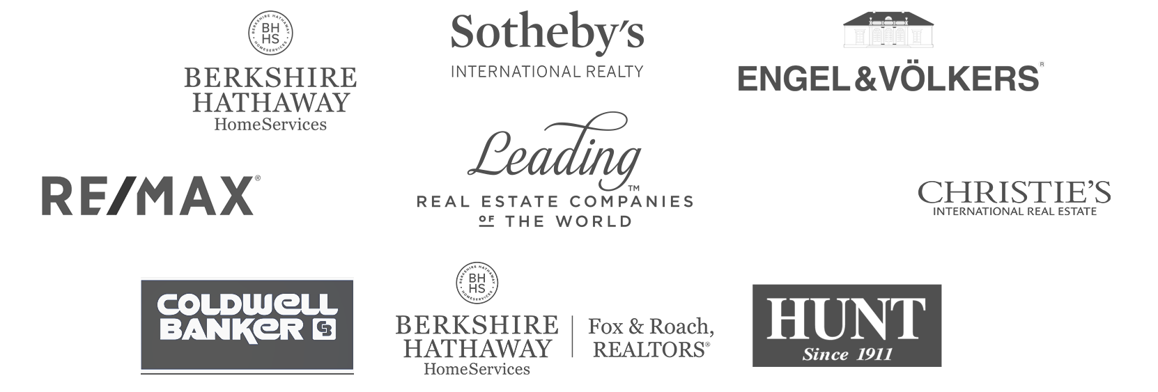 Client logos: Berkshire Hathaway HomeServices, Sotheby's International, Engel and Volkers, RE/MAX, Leading Real Estate Companies of the World, Christie's International Real Estate, Coldwell Banker, Berkshire Hathaway HomeServices:Fox and Roach, Hunt Realty