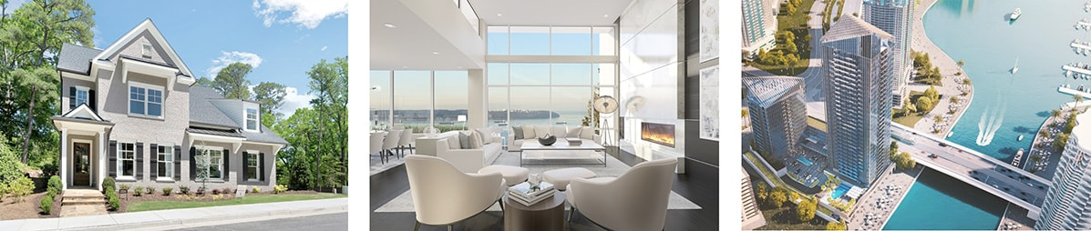 Exterior of new home in traditional style and the interior of a living room of a high-rise modern luxury condo