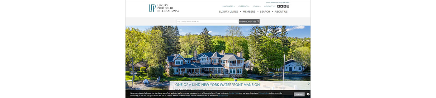 Screenshot of Luxury Portfolio International website