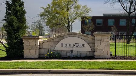 Entrance monument at Heathewrwood