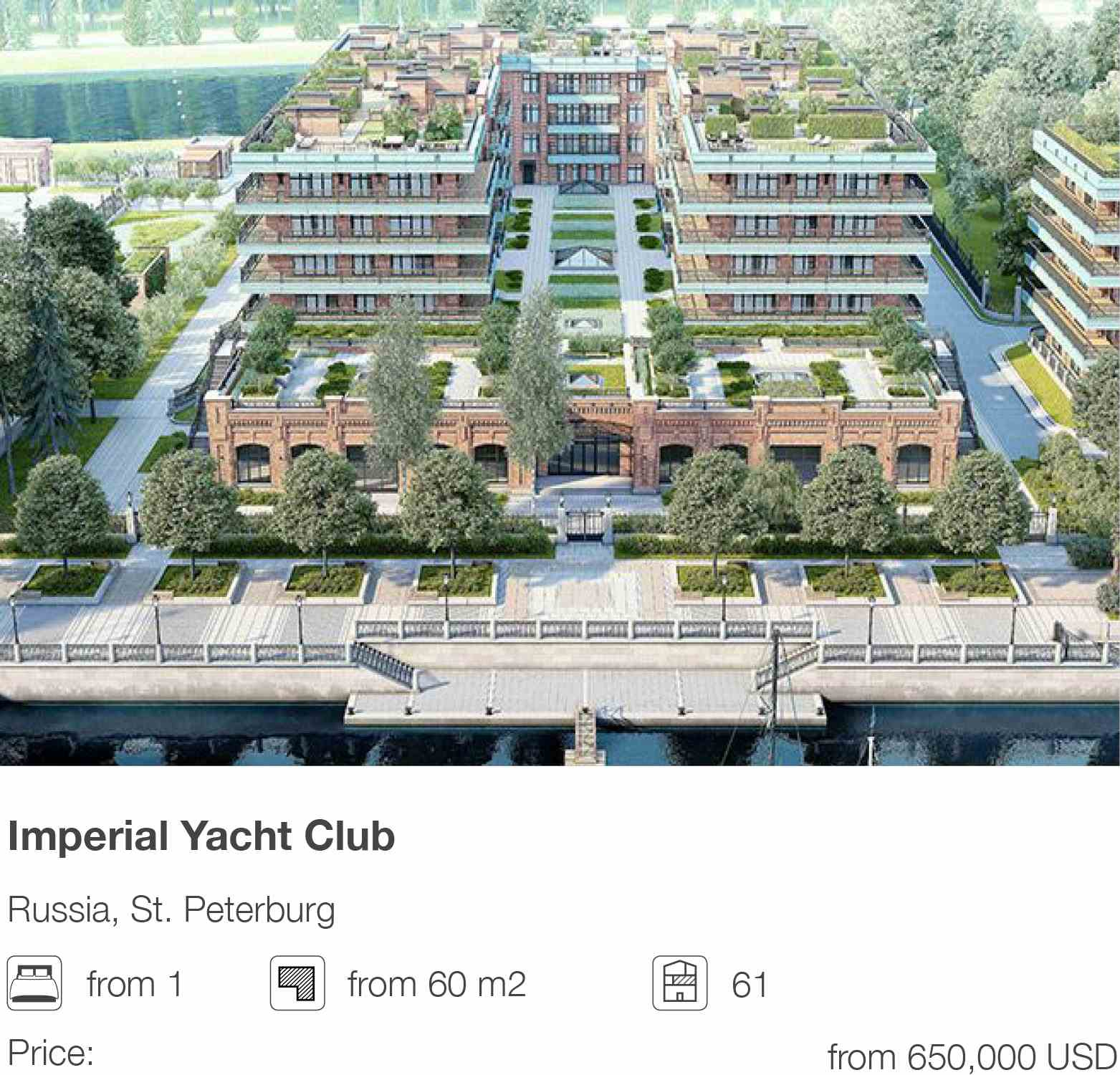 Imperial Yacht Club development in St. Petersburg, Russia