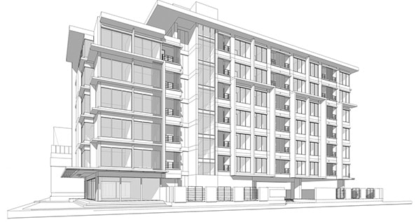 Elevation of exterior of large, luxury high-rise condominium building