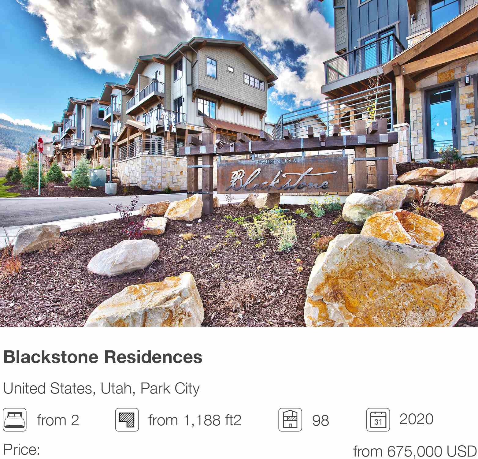 Blackstone Residences development in Park City, Utah, USA
