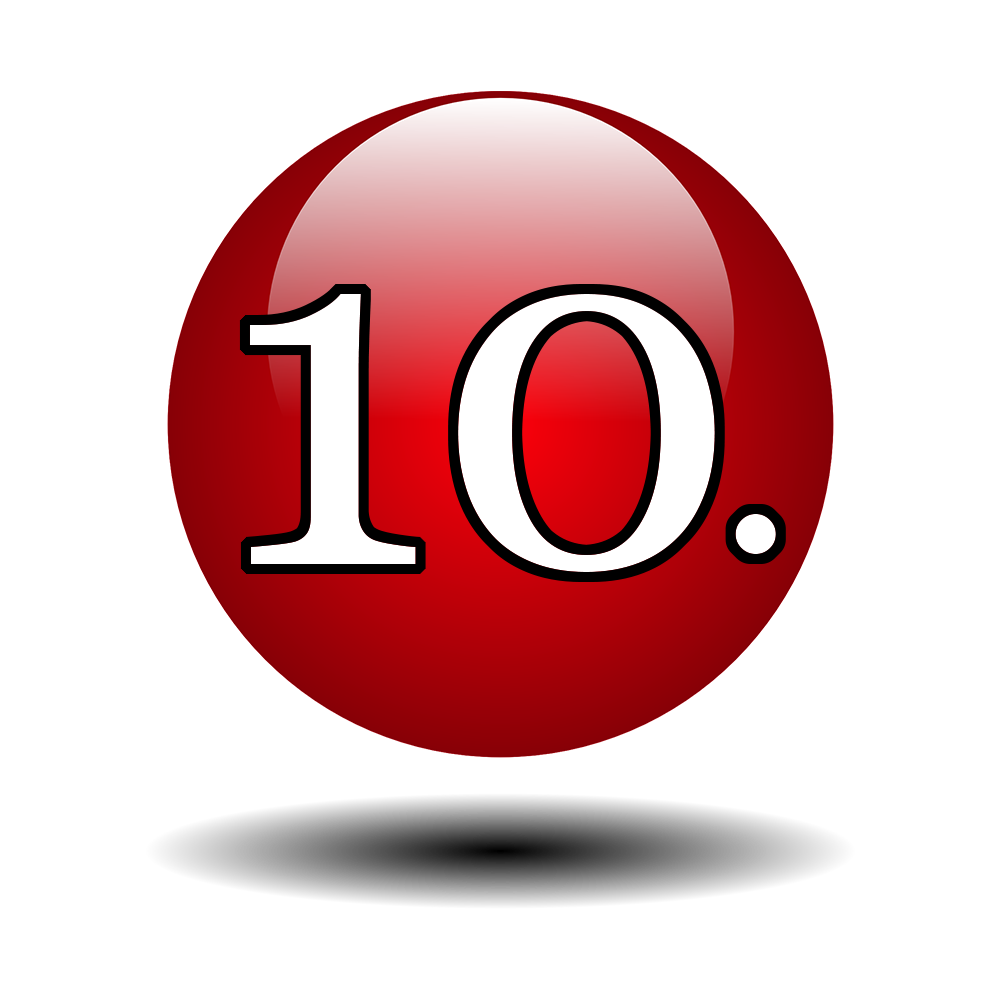 10 bullet list numbers for tips on RS website landing page