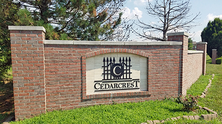 Entrance monument at Cedarcrest in Lenexa