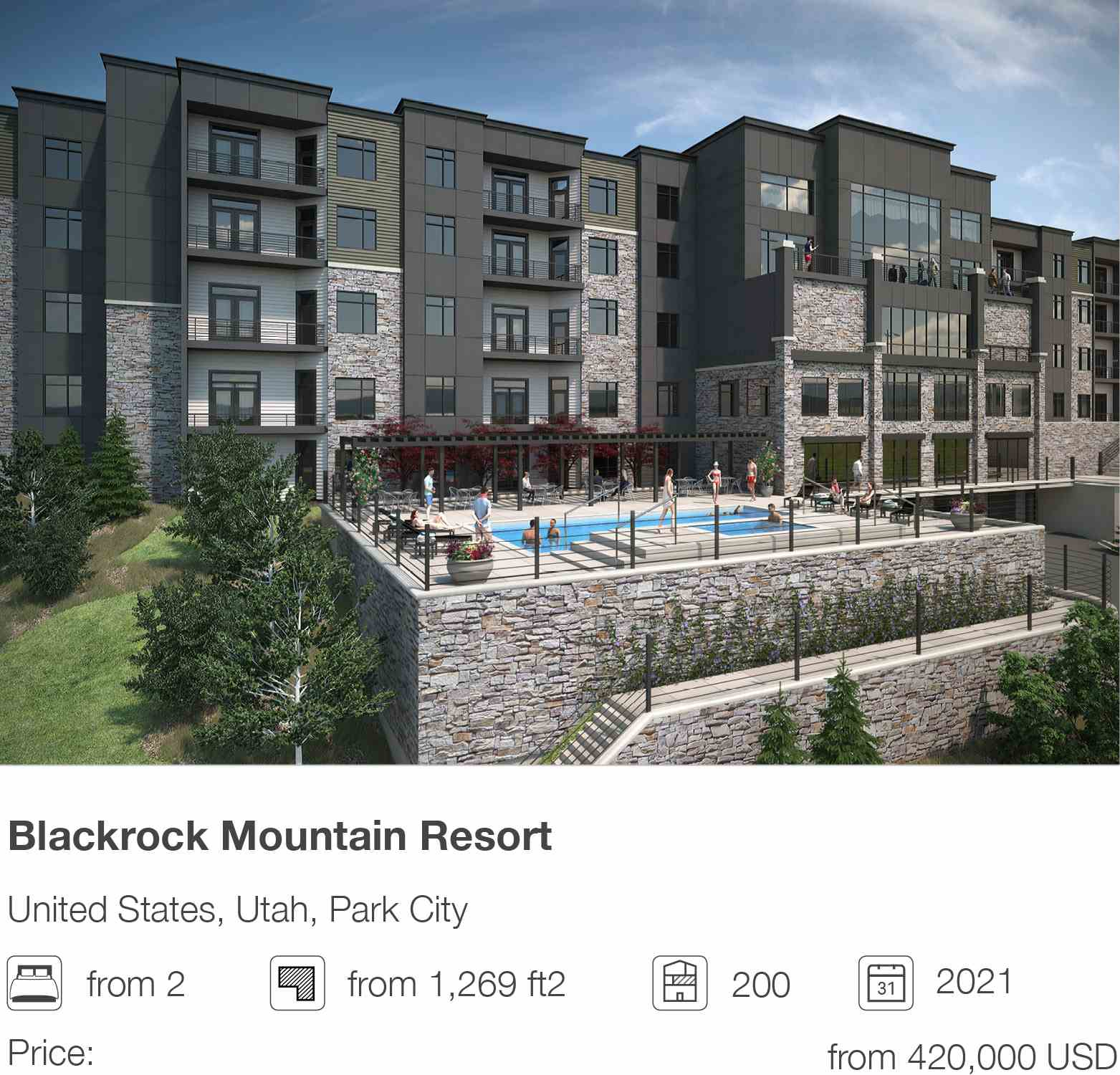 Blackrock Mountain Resort development in Park City, Utah, USA
