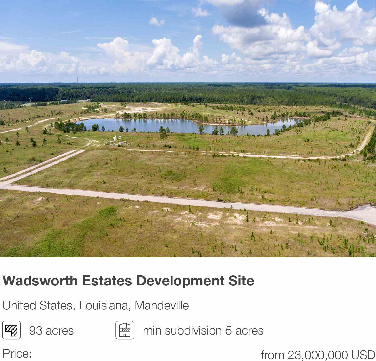 Wadsworth Estates Development Site in Mandeville, Louisiana, USA