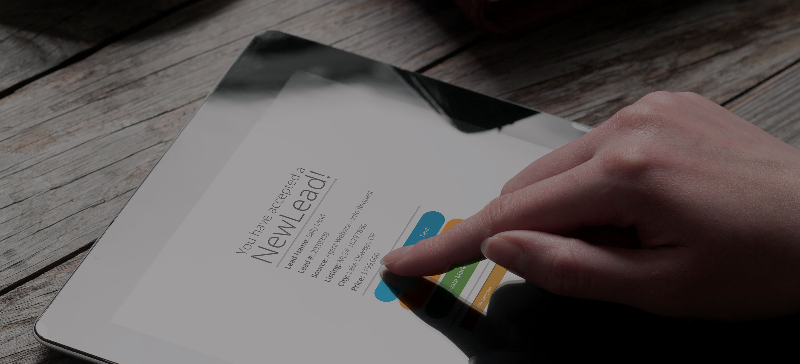 User accepting a new lead on an tablet device