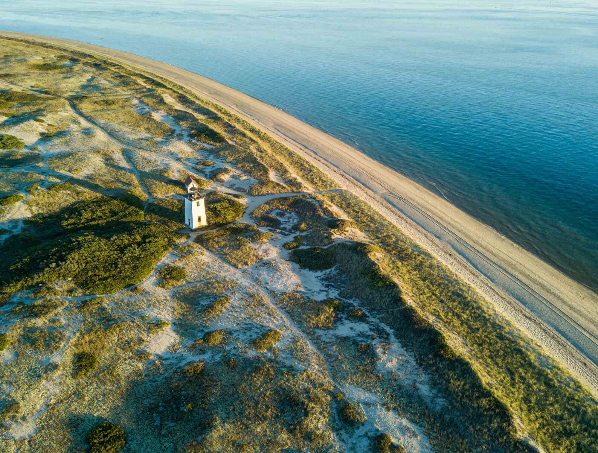 Aerial view of lighthouse in Cape Cod