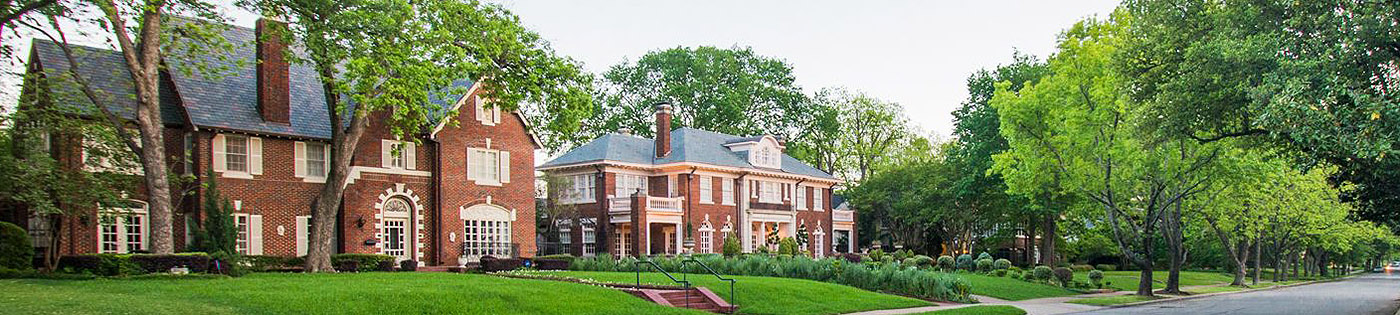 exterior of large brick houses