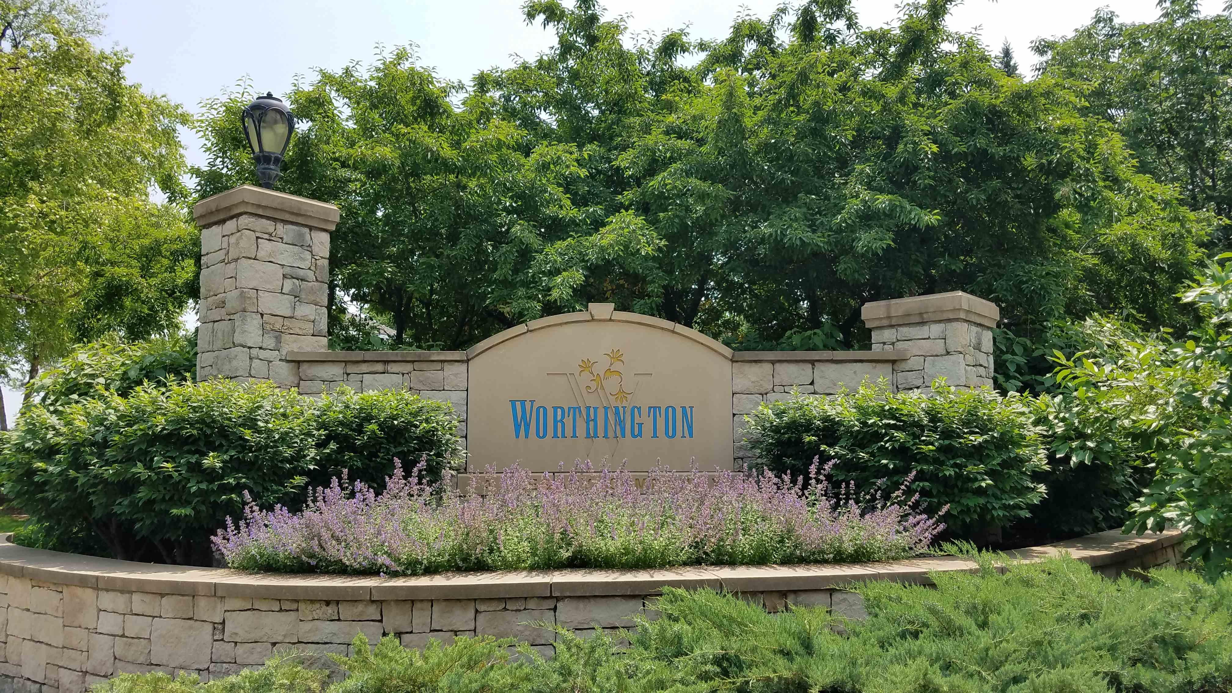 Entrance monument at Worthington
