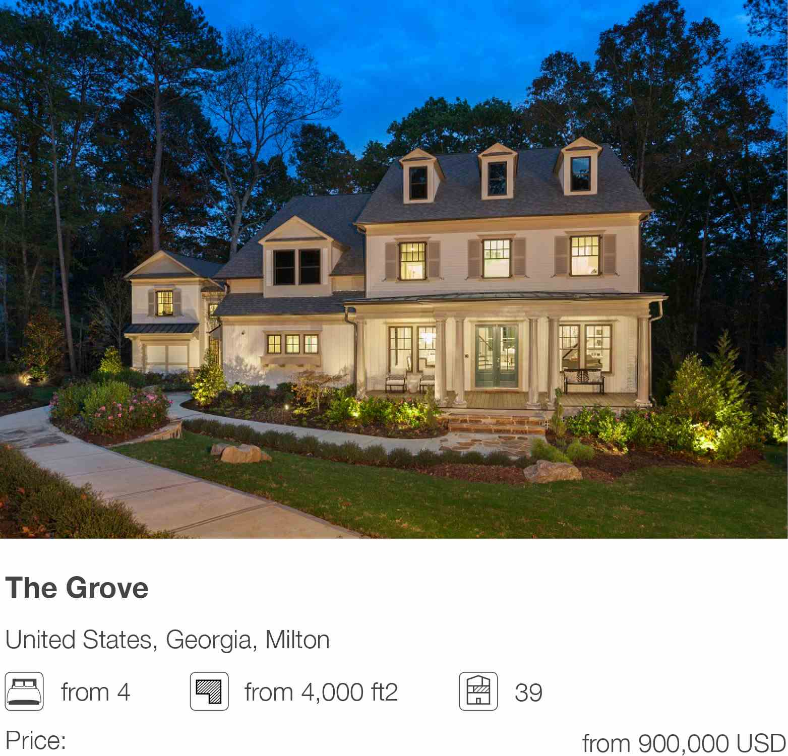 The Grove development in Milton, Georgia, USA