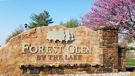Entrance monument at Forest Glen by the Lake