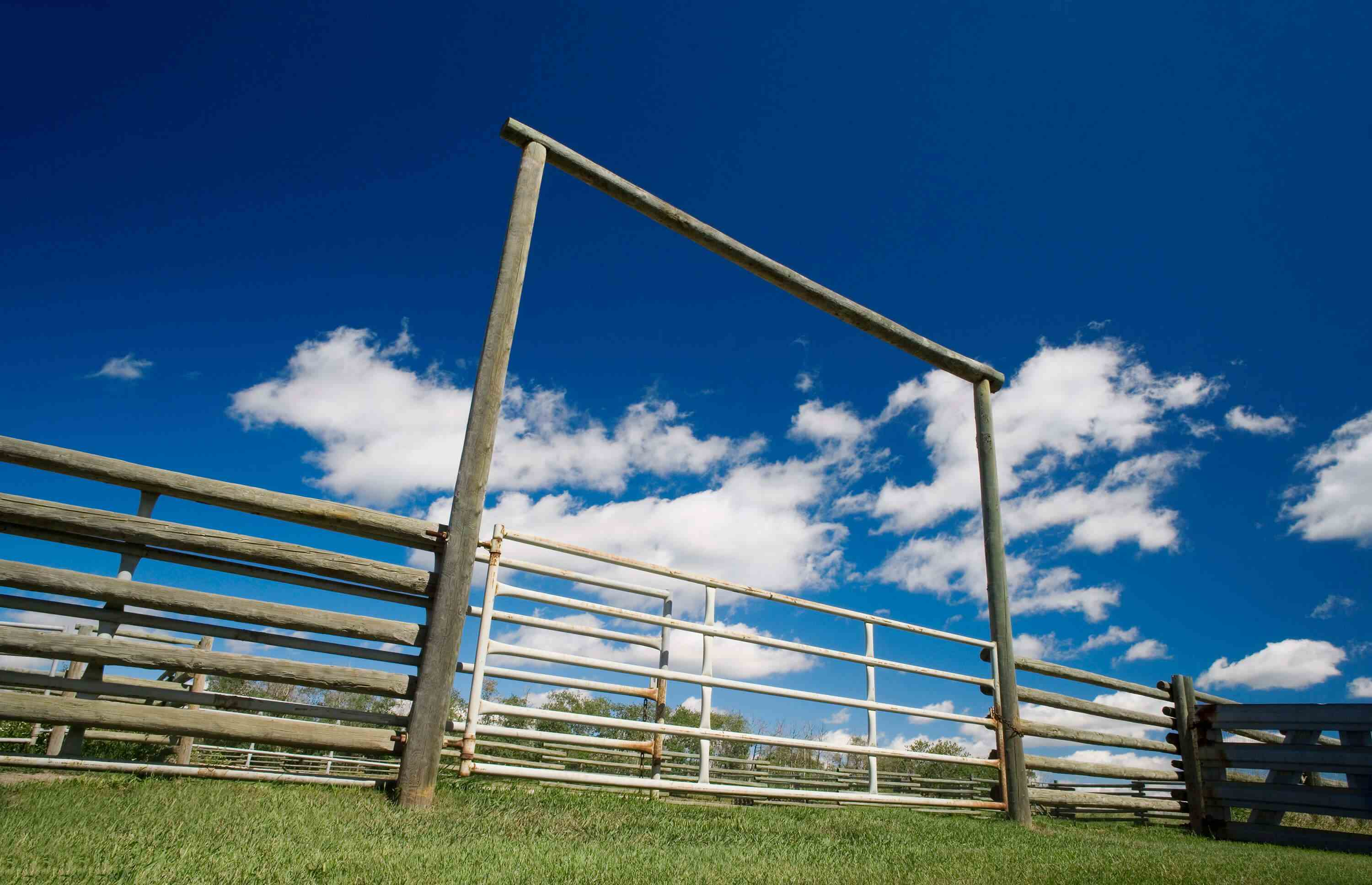 Looking up at frame over gate and fence in field with white clouds and blue sky