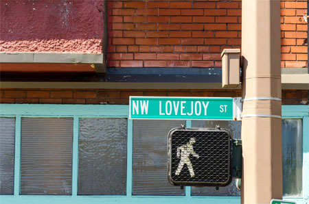 Road sign of Lovejoy street
